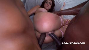 LegalPorno - Ashley Adams 1st DP with 2 BBC with a double creampie
